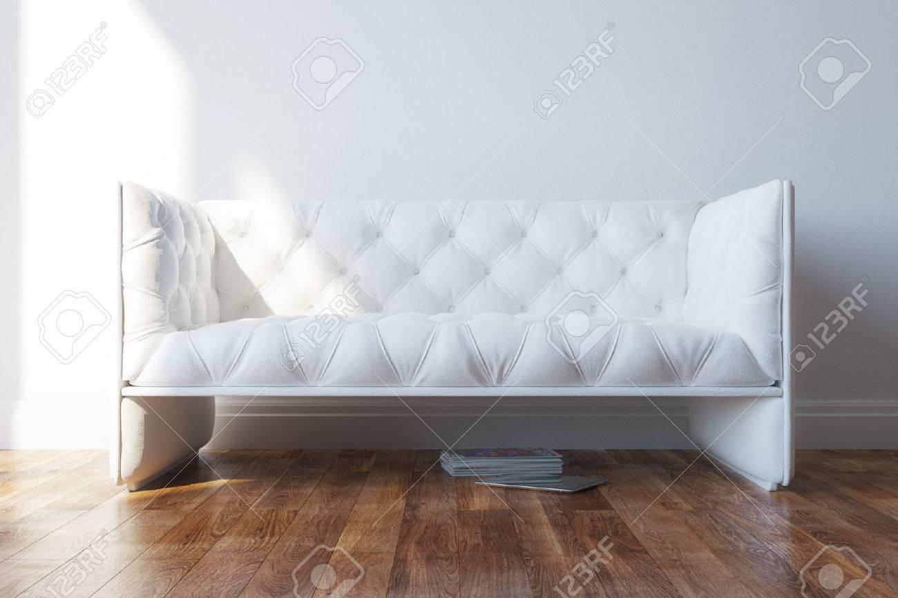 Vintage White Design Couch In Minimalist Interior - 25203194