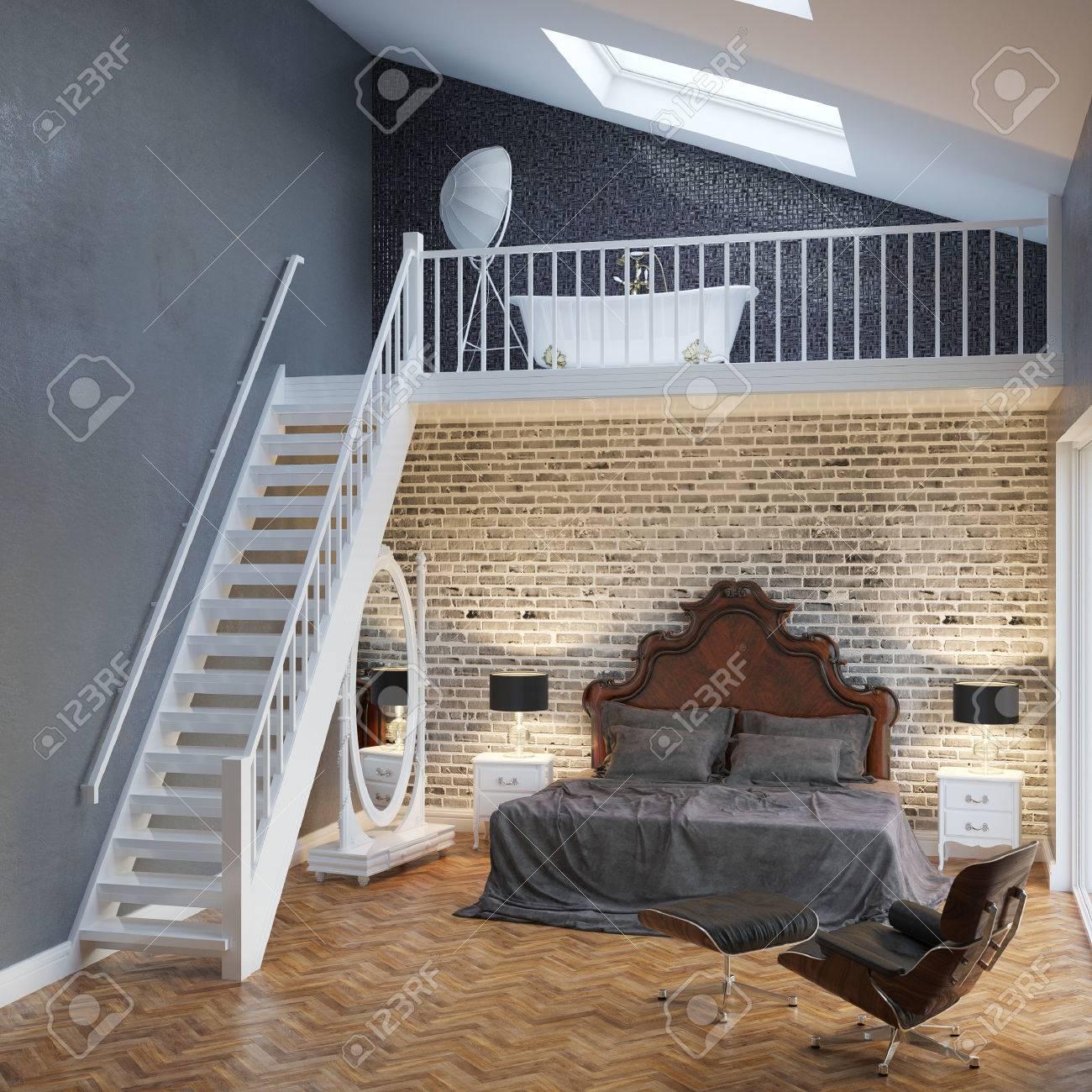 Grosse Schlafzimmer Innenraum Mit Treppen Und Vintage Mobel