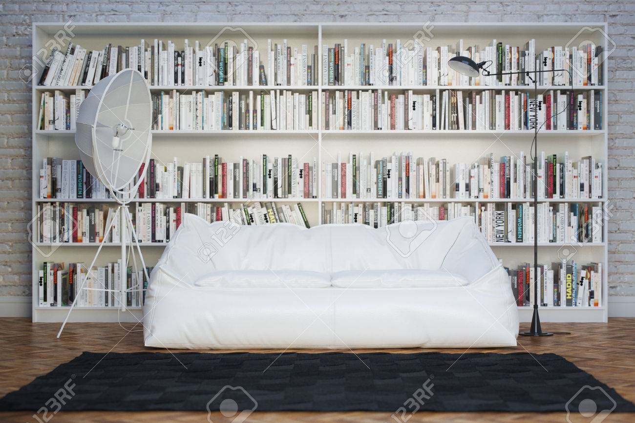 Interior of town house with books arranged in library - 27404340