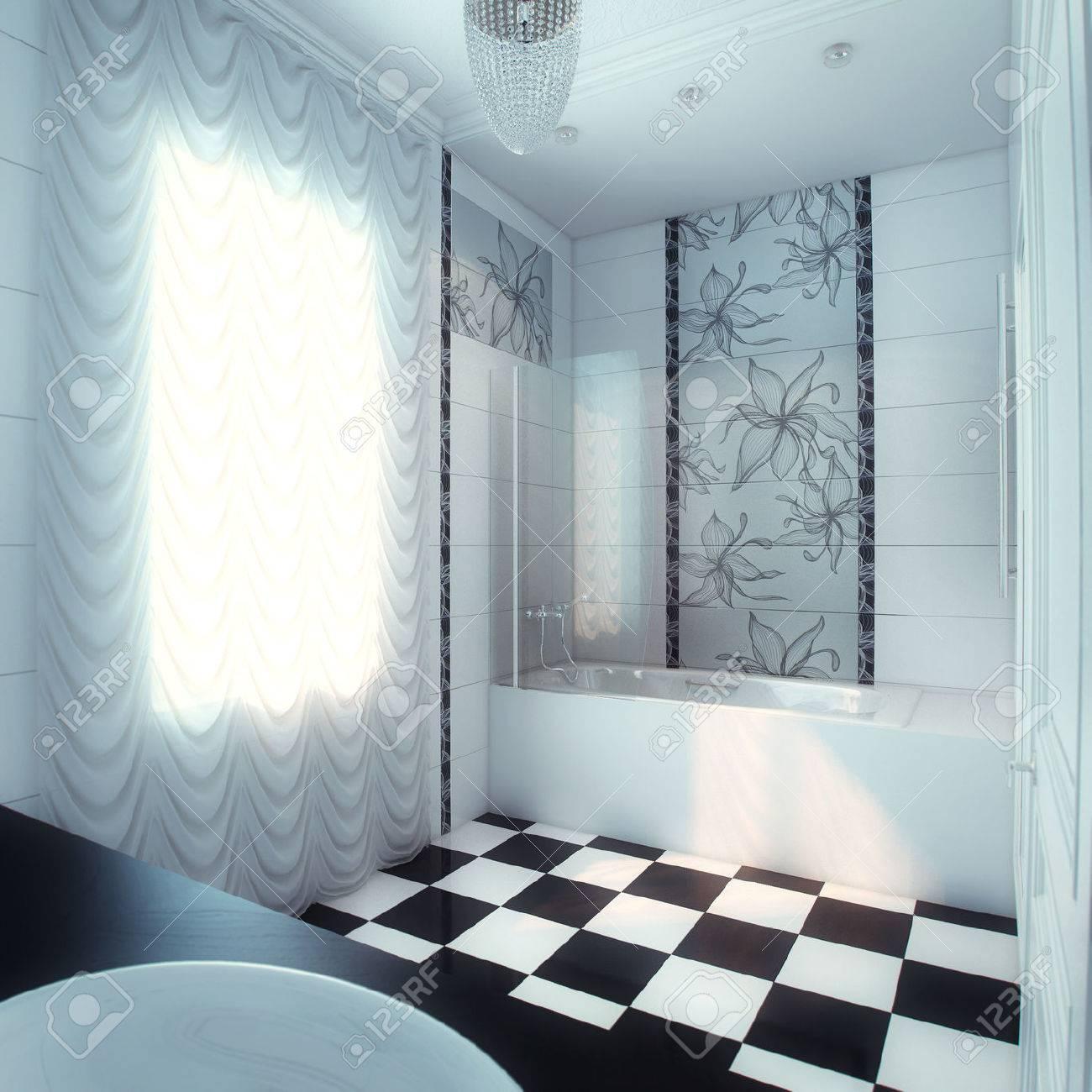 Belle Grande Salle De Bain Dans La Maison De Luxe Banque D\'Images Et ...