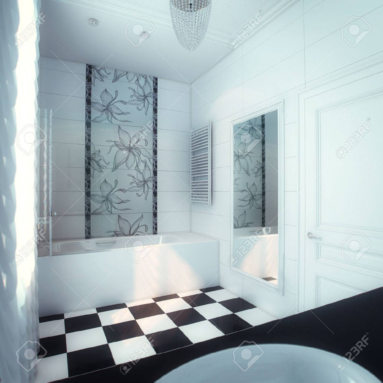Schöne Große Badezimmer In Luxus-Haus Lizenzfreie Fotos, Bilder Und ...