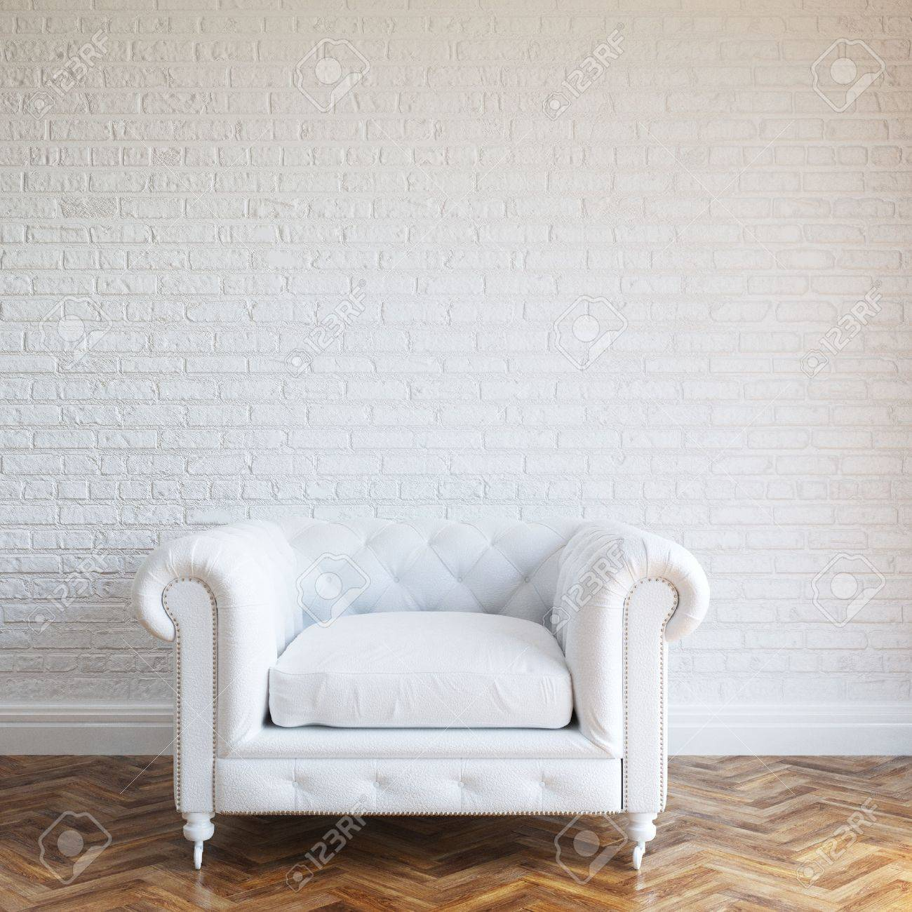 White Walls Brick Interior With Classic Leather Armchair - 28391610