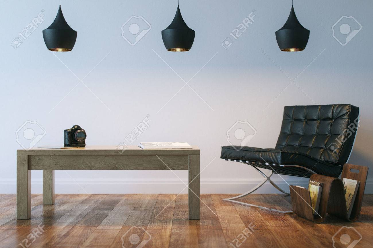 Living Or Office Interior Room With Leather Armhair And Table - 28391615