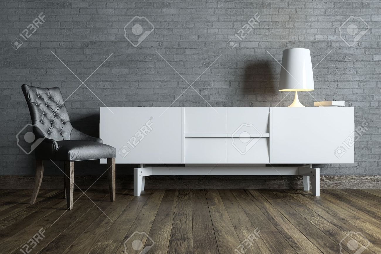 modern interior room with white furniture and table lamp - 29668839