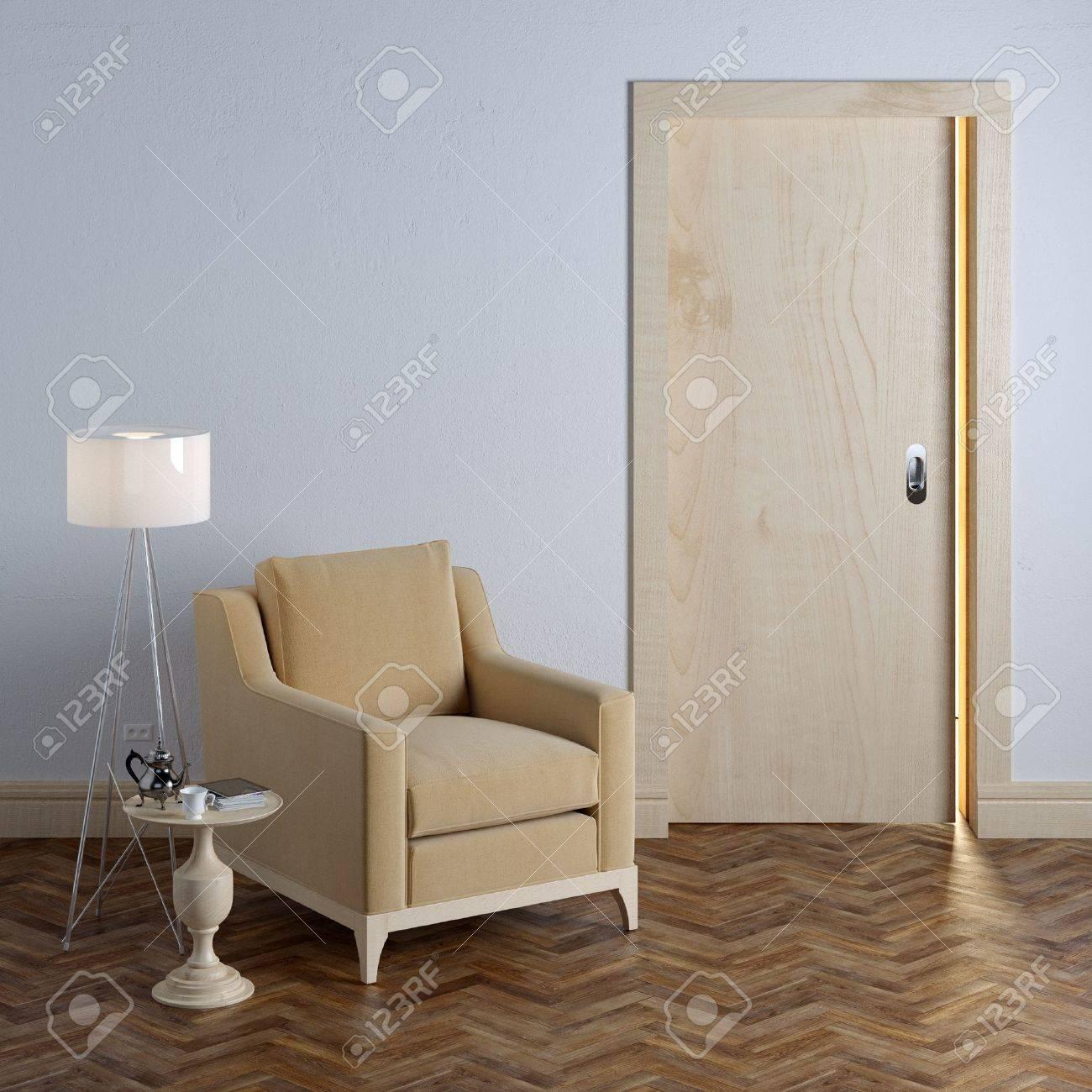 New empty room with beige armchair in classic interior design - 35889698