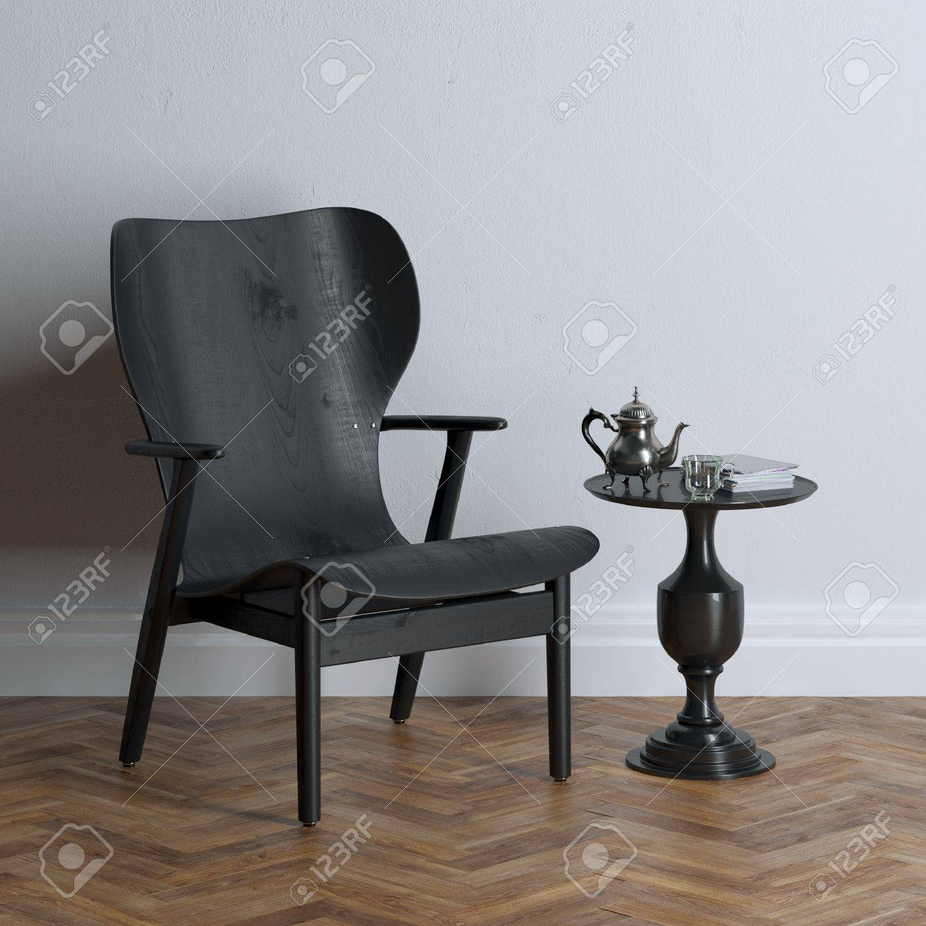 New black wooden chair in classic interior design - 35889706