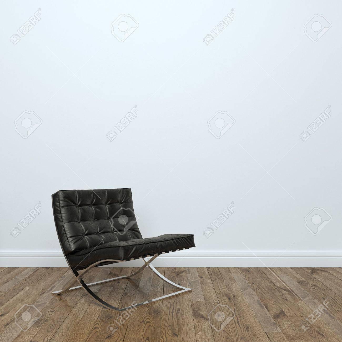 Black Leather Armchair In Empty Interior Room Stock Photo: - 35889719