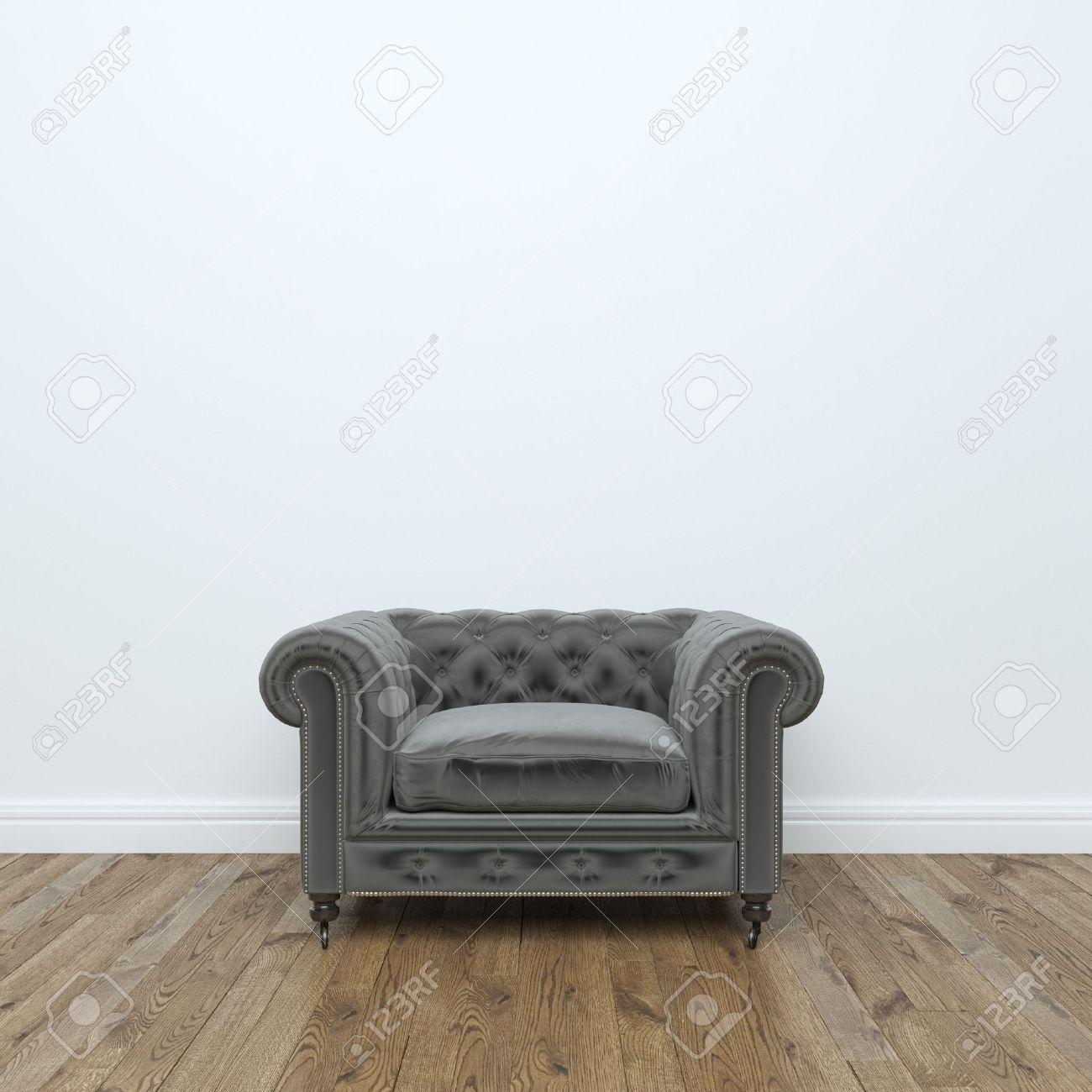 Black velvet Armchair In Empty Interior Room Stock Photo: - 35889740