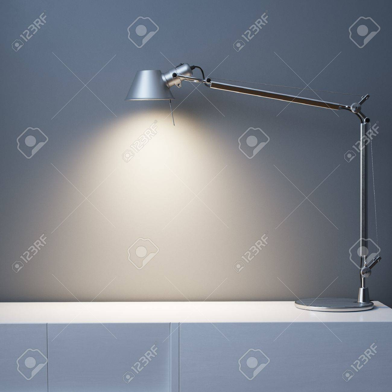 Metal Lamp On The White Desk In Black Wall Interior Room - 35889787