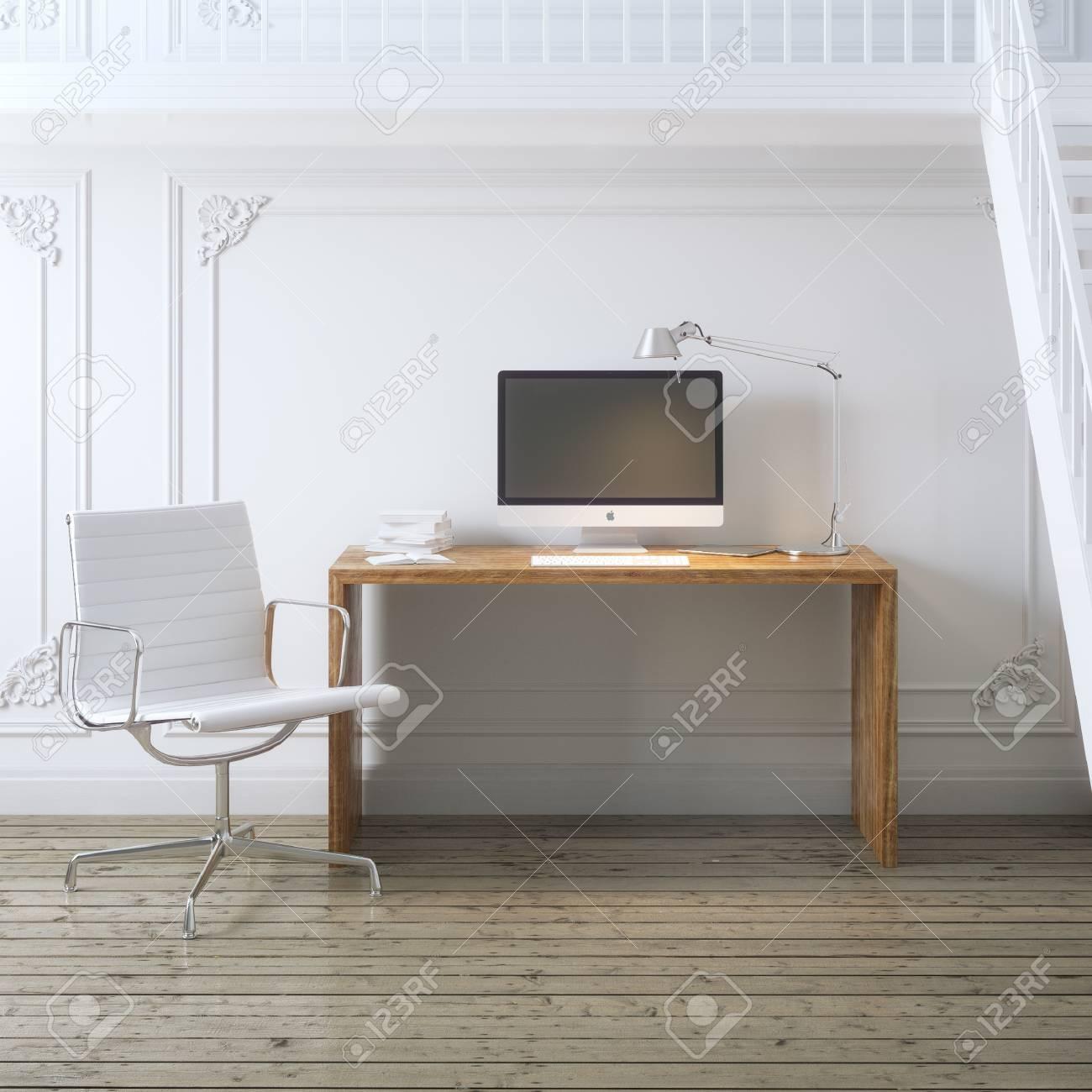 Arbeitsplatz Innenarchitektur Mit Treppen Und Weiße Sessel