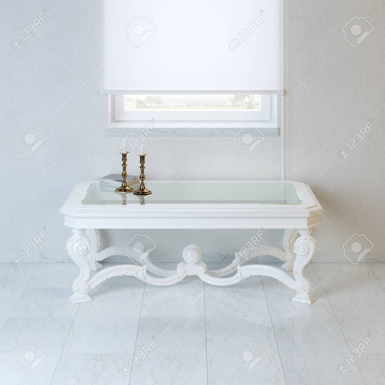 White Empty Room With Baroque Style Coffee Table And Candelabra Stock Photo Picture And Royalty Free Image Image 35890024