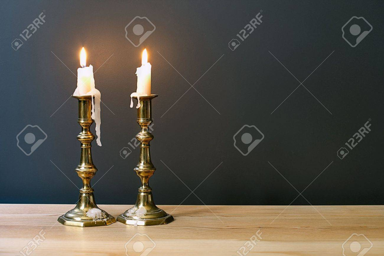Retro Candelabra With Burning Candles In Minimalist Room - 35890308