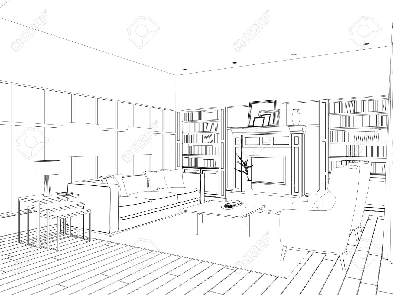 Sketch Of The Living Room With Sofa, Frames And Coffee Table Stock ...