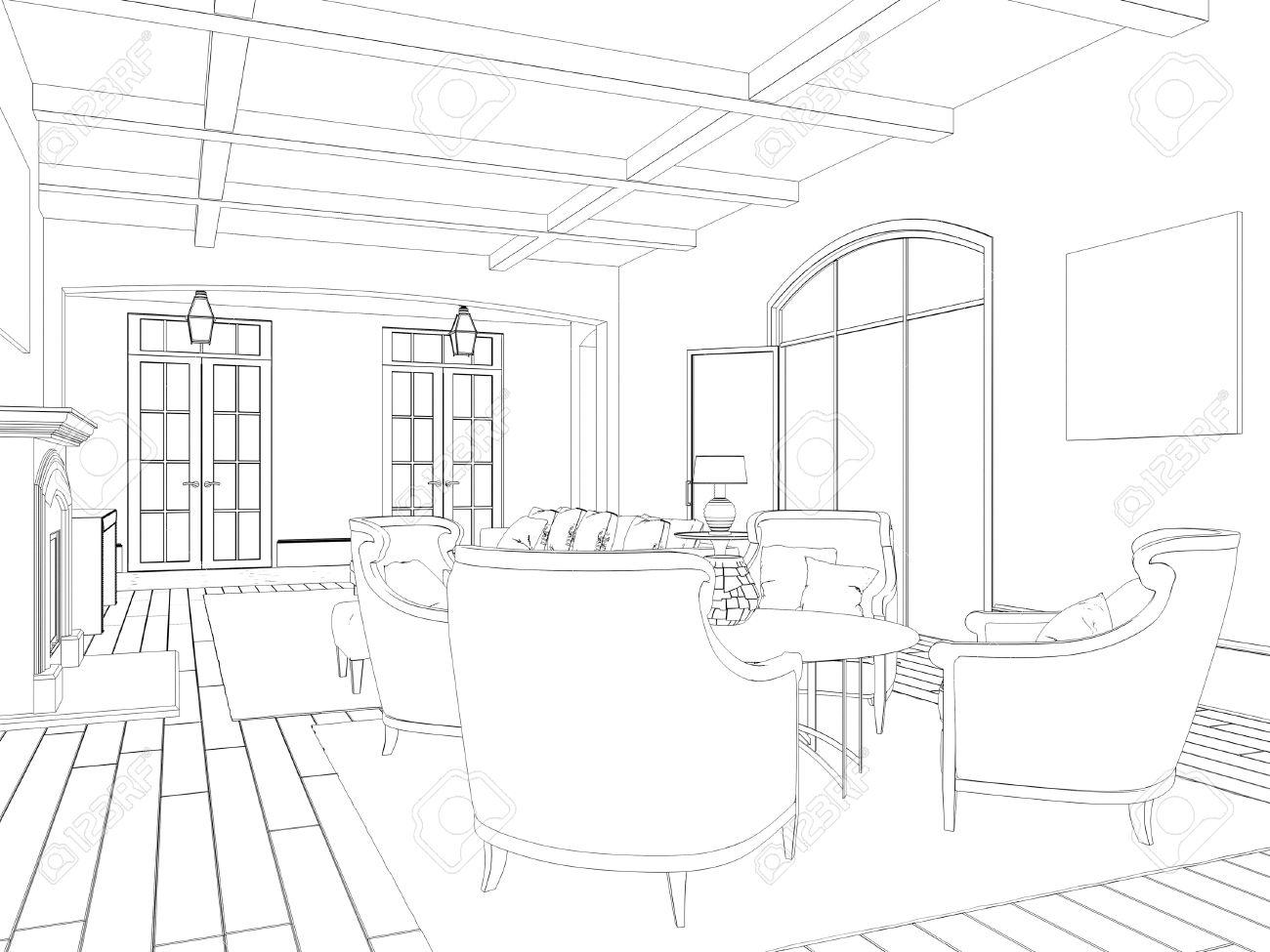 Croquis D\'un Salon Avec Salle à Manger: Des Chaises Et Une Table ...