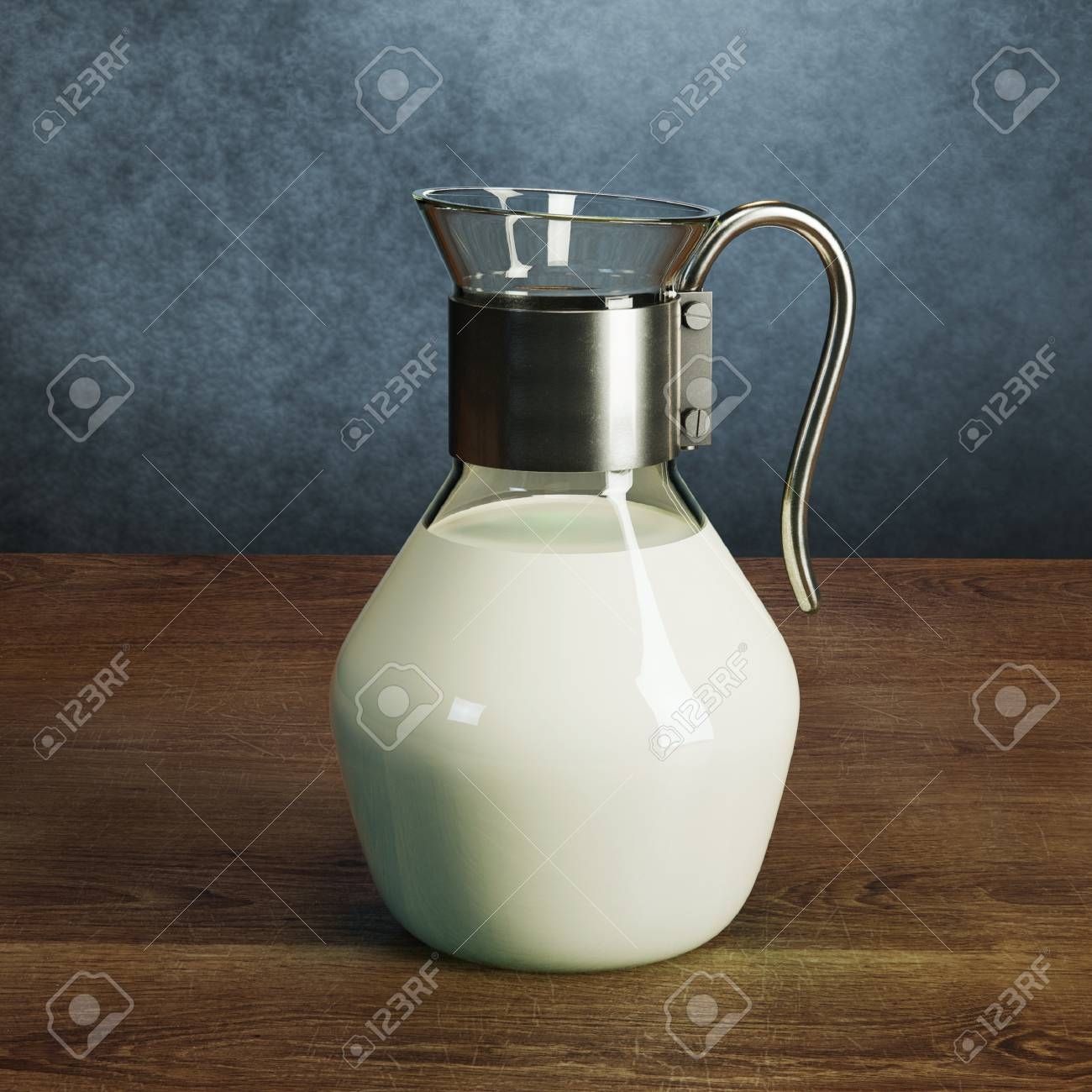 Beautiful vintage glass jug full of milk on wooden surface Stock Photo -  40505358
