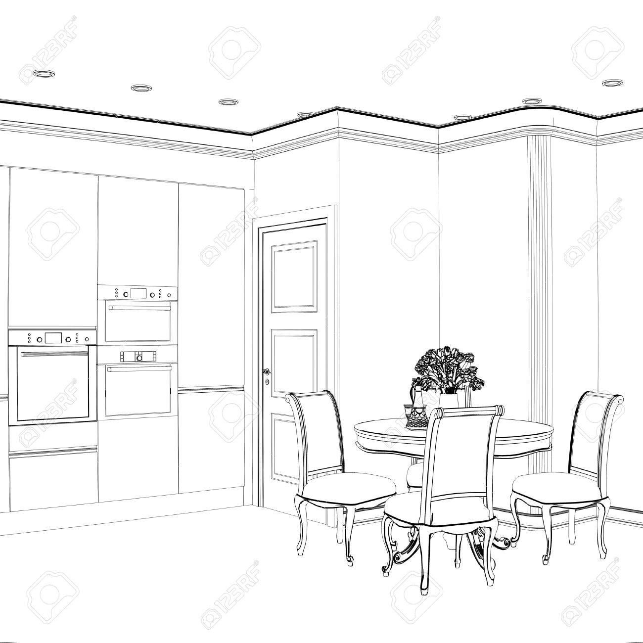 3d Sketch Of Kitchen Interior With Dining Area Stock Photo Picture