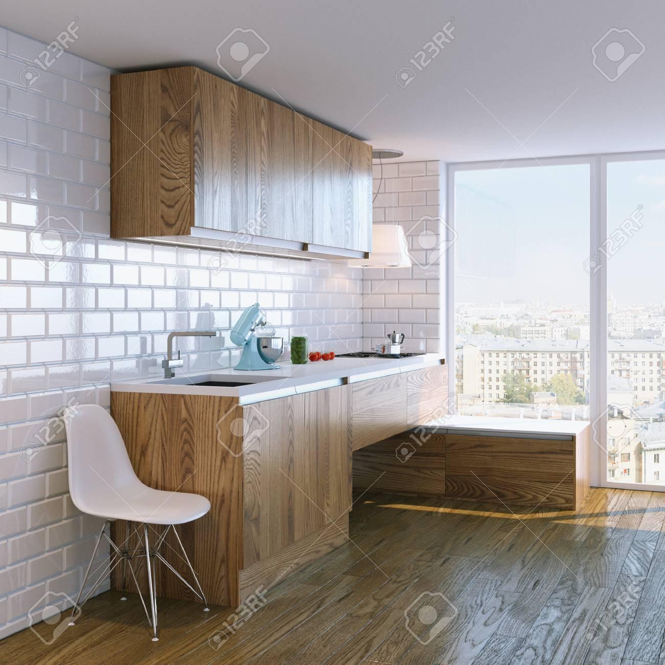 Moderne Küche Aus Holz Inter Mit Großem Fenster Lizenzfreie Fotos ...