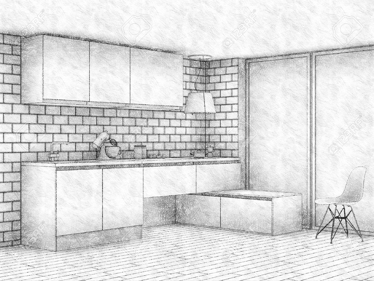 Pencil Sketch Of Modern Kitchen Interior With Big Window Stock Photo