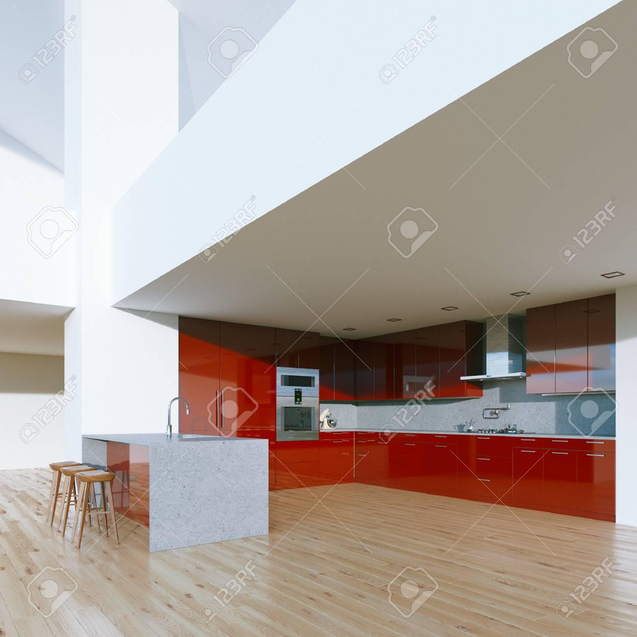 Nouvelle Cuisine Rouge Decoration Contemporaine Dans Le Luxe Grande Maison 3d Render