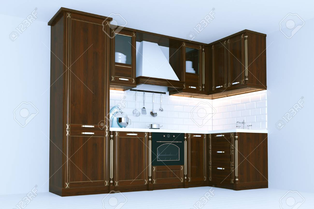 Klassische Küche Aus Holz Möbel 3d Render Lizenzfreie Fotos, Bilder ...