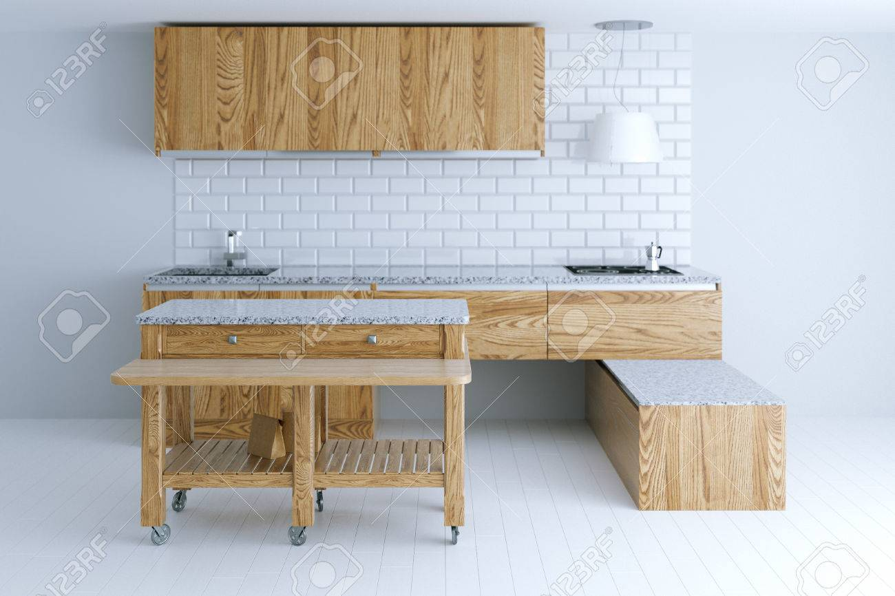 Perfect Idea For Kitchen Interior Design With Wooden Furniture. Front View.  3d Render Stock