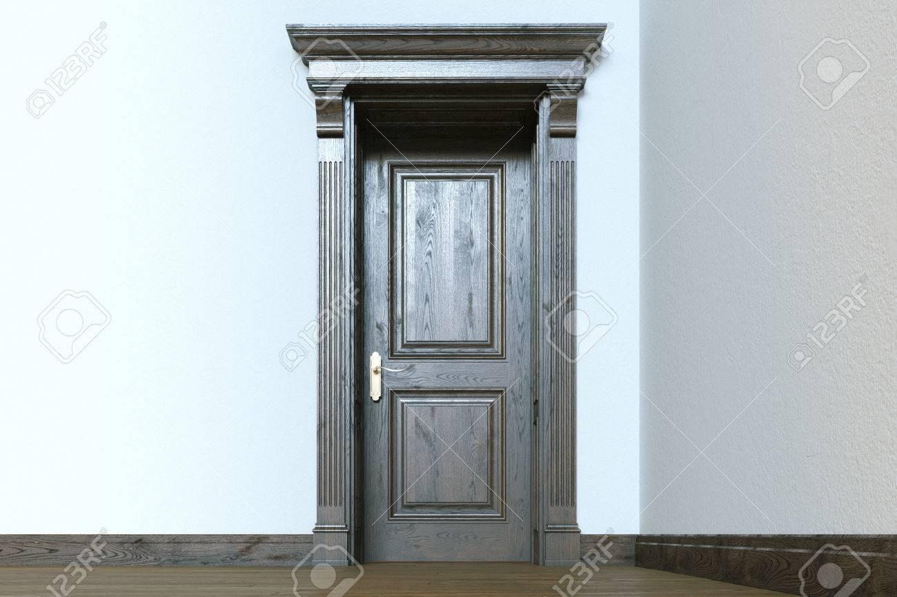 Lgante porte en bois Classic à vide intérieur moderne de la chambre. 3d  render.