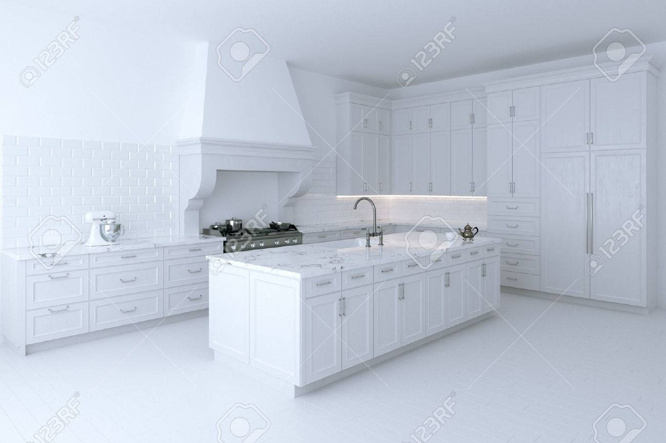 Luxurious White Kitchen Cabinet With Cooking Island. Perspective ...
