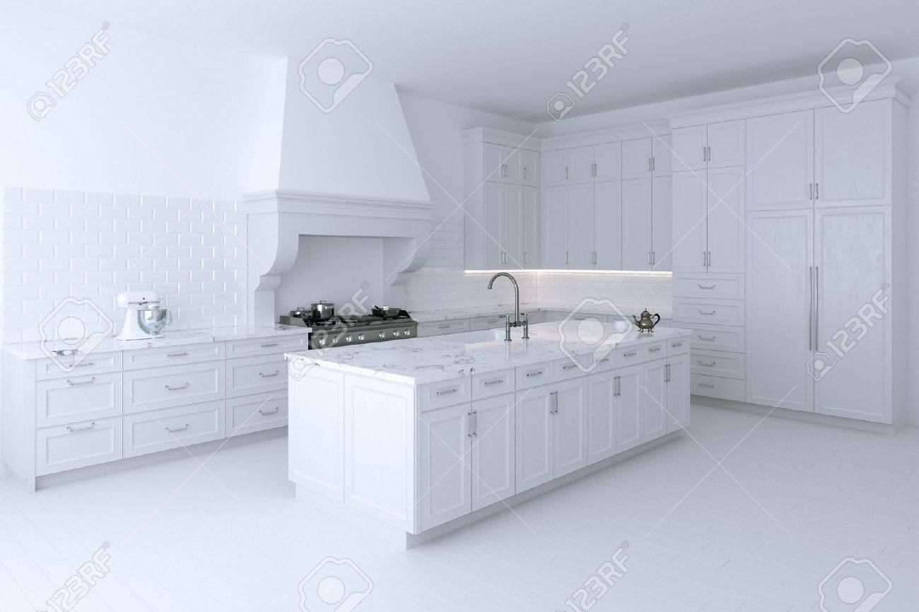 Luxuus Gabinete De Cocina Blanco Con Isla De Cocina. Versión ...