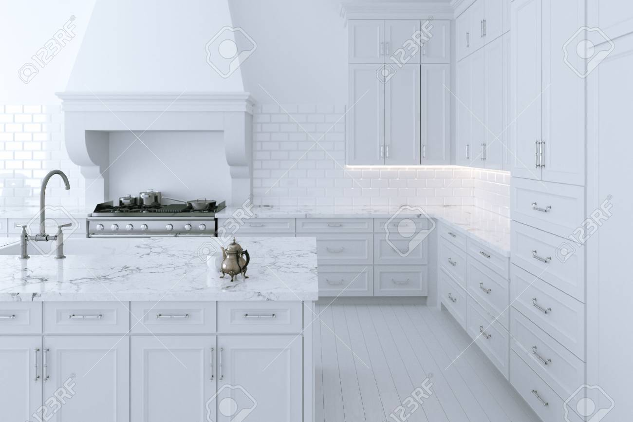 Luxurious White Kitchen Cabinet With Cooking Island. 3d Render Stock ...
