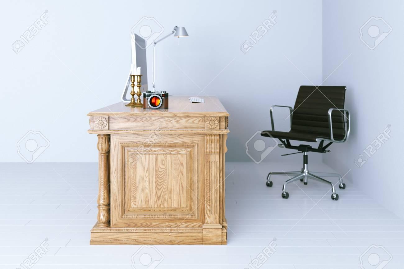 Ufficio Bianco E Legno : Moderno ufficio interni con pavimento in legno bianco rendering