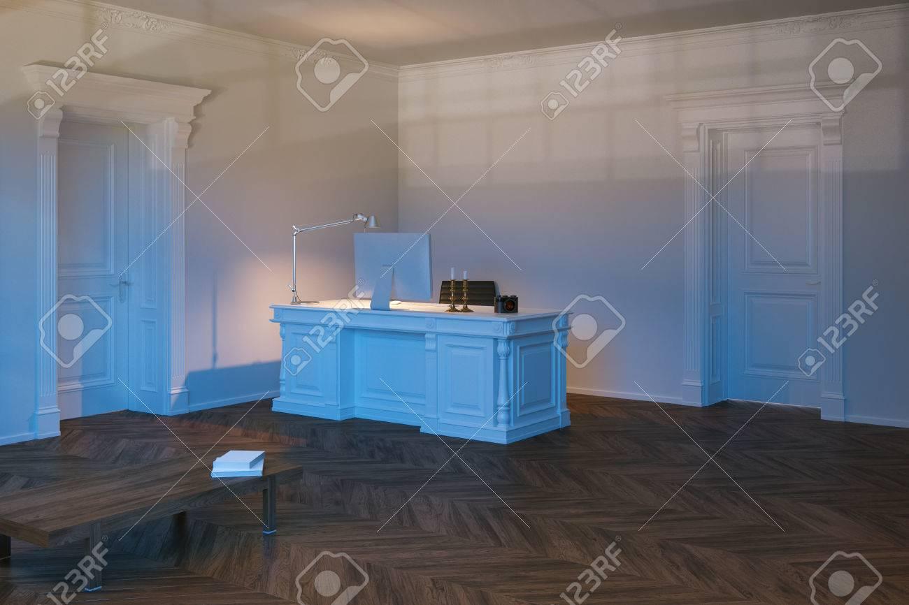 Maison de luxe bureau intérieur avec plancher de bois franc d