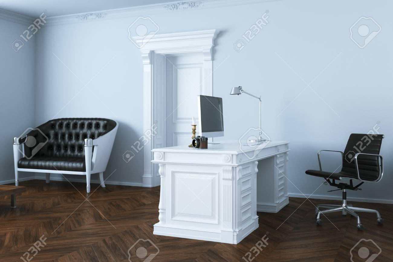 classic elegant office interior design 3d render stock photo