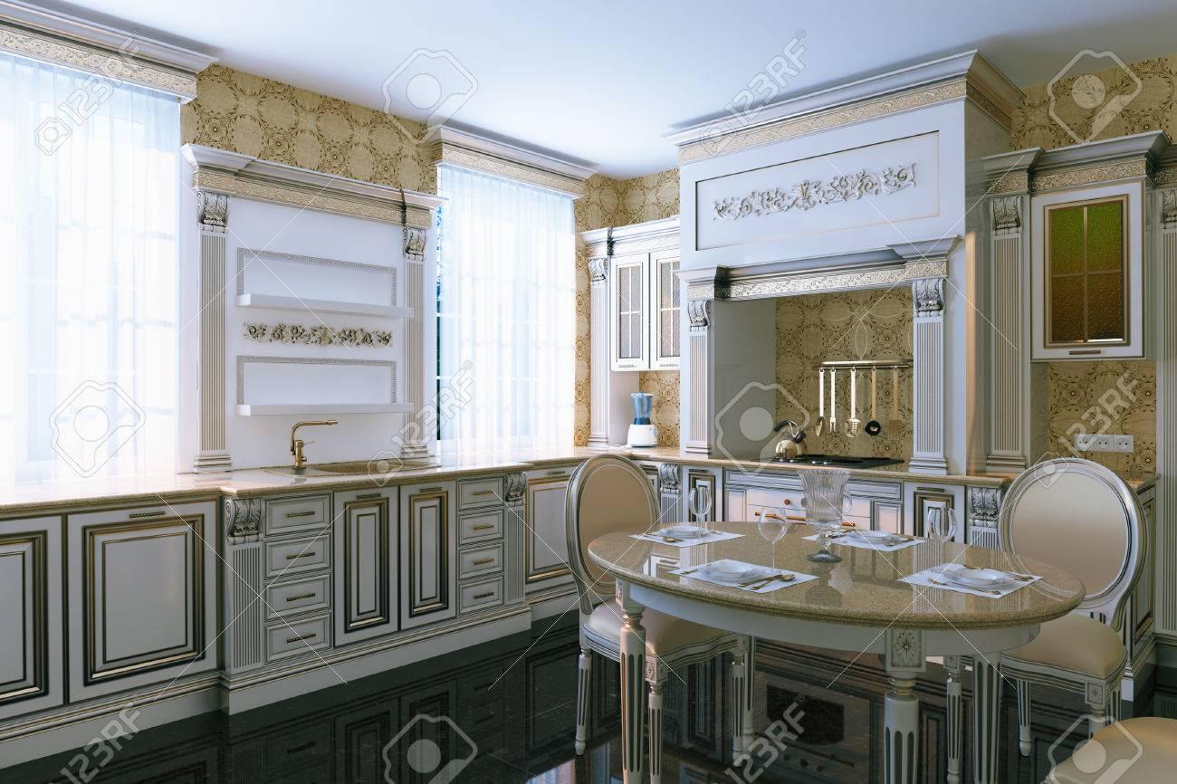Eitelkeit Küche Vintage Dekoration Von -vintage-küche Interieur Mit Essbereich. 3d übertragen. Standard-bild