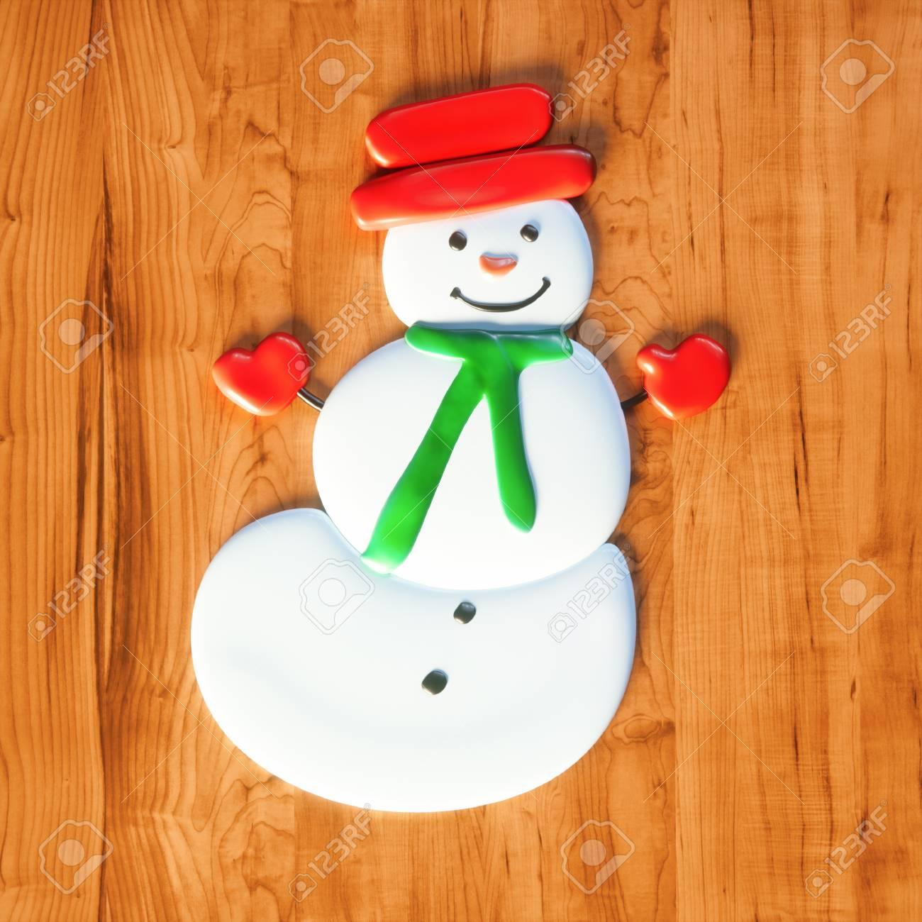 Süße Schneemann Süßigkeiten Weihnachtsgeschenk Auf Holztisch 3D ...
