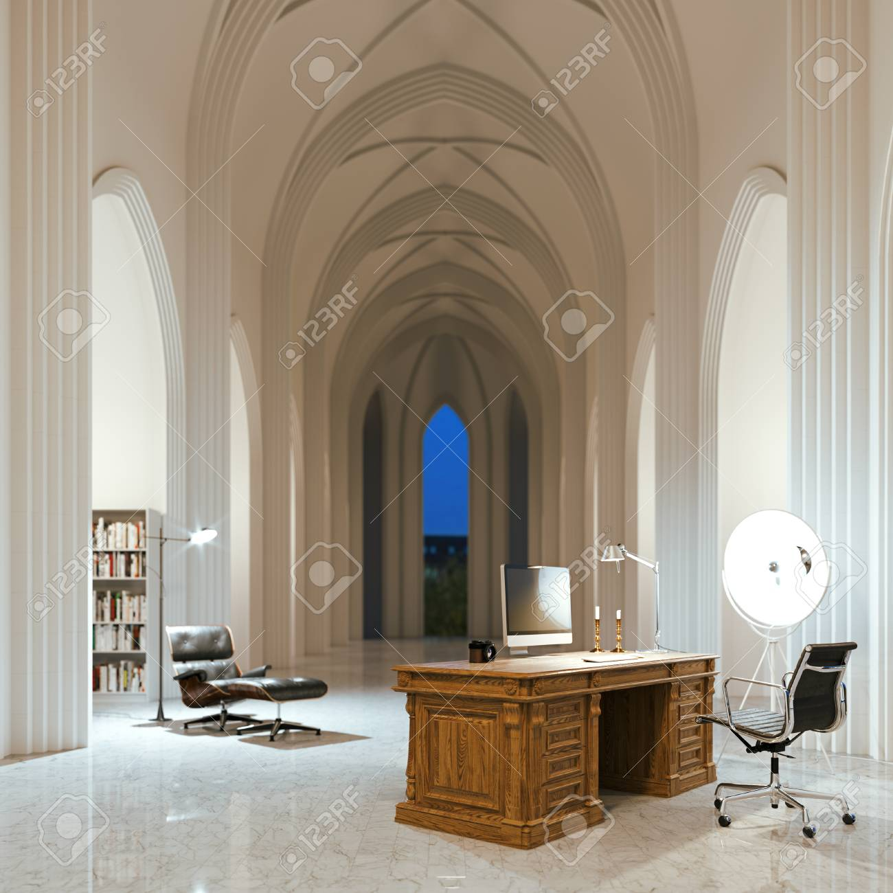 Office In Night Gothic Architecture Interior 3d Render Stock Photo