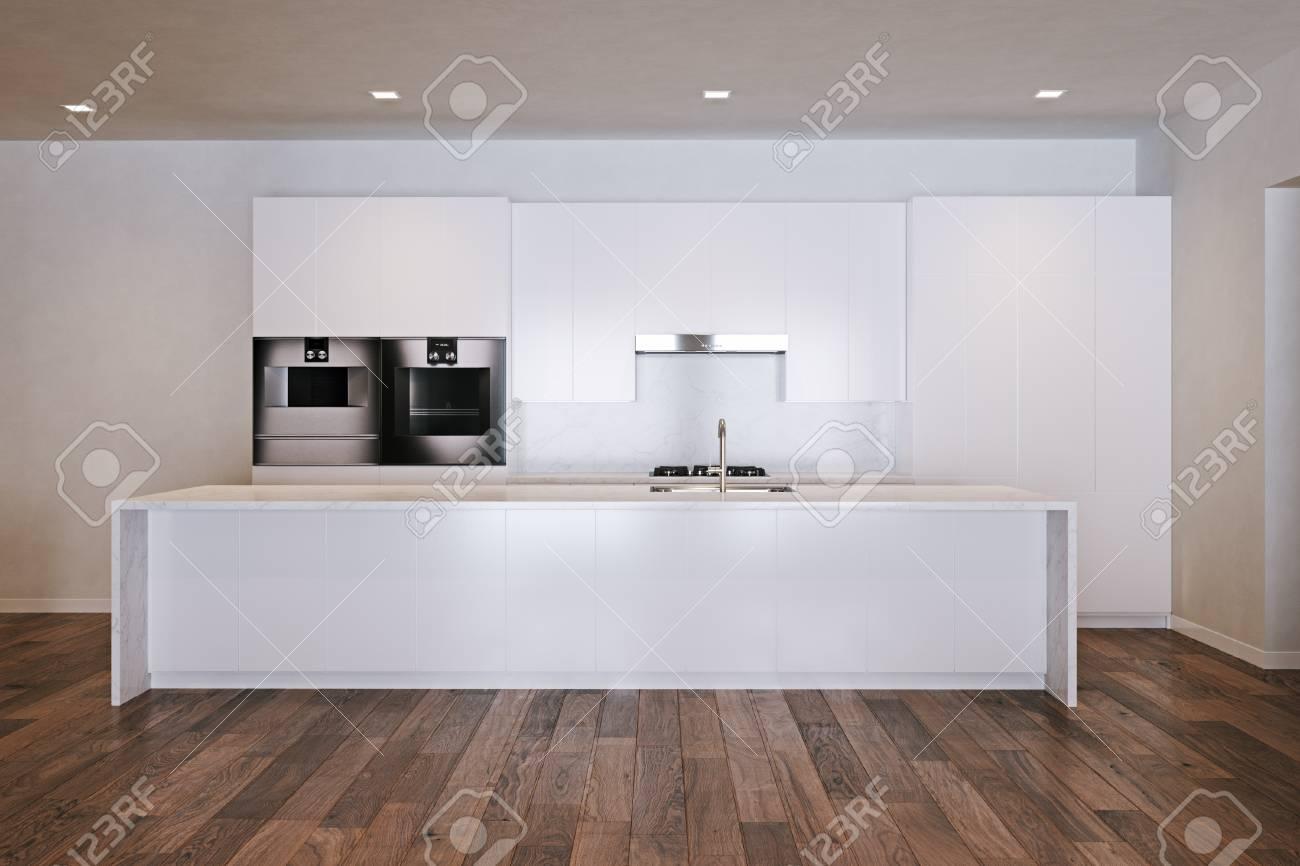 Weisse Minimalistische Kuche Auf Holzboden 3d Render Lizenzfreie
