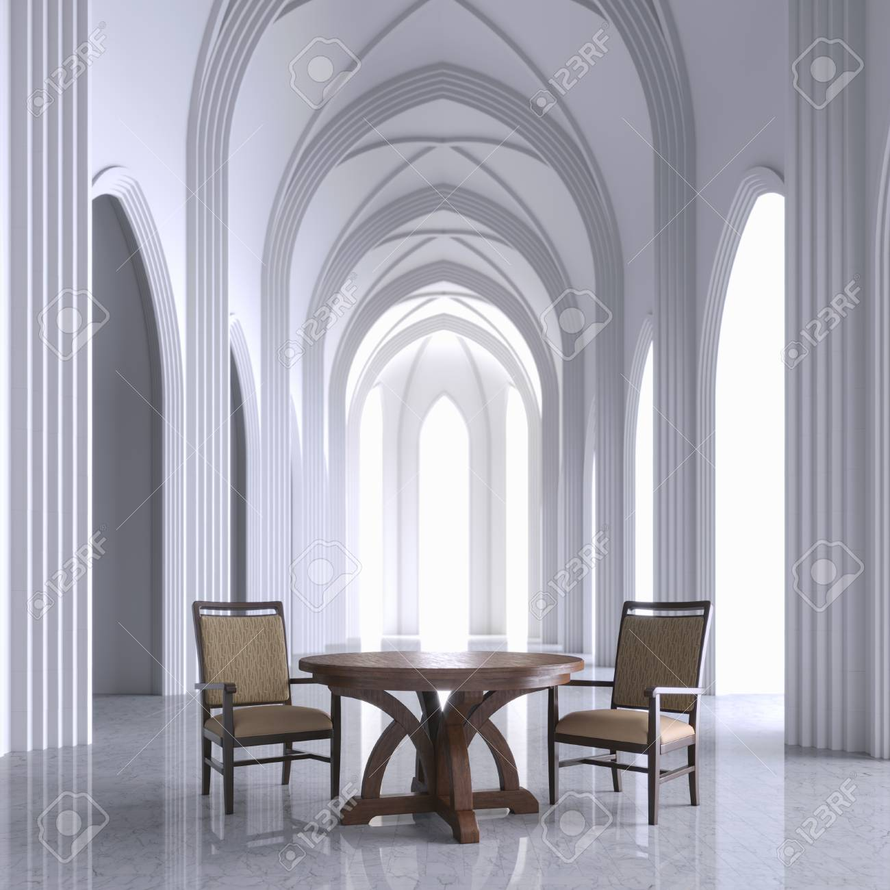 Gothic White Interior Church With Wooden Furniture 3D Render Stock Photo    99842710