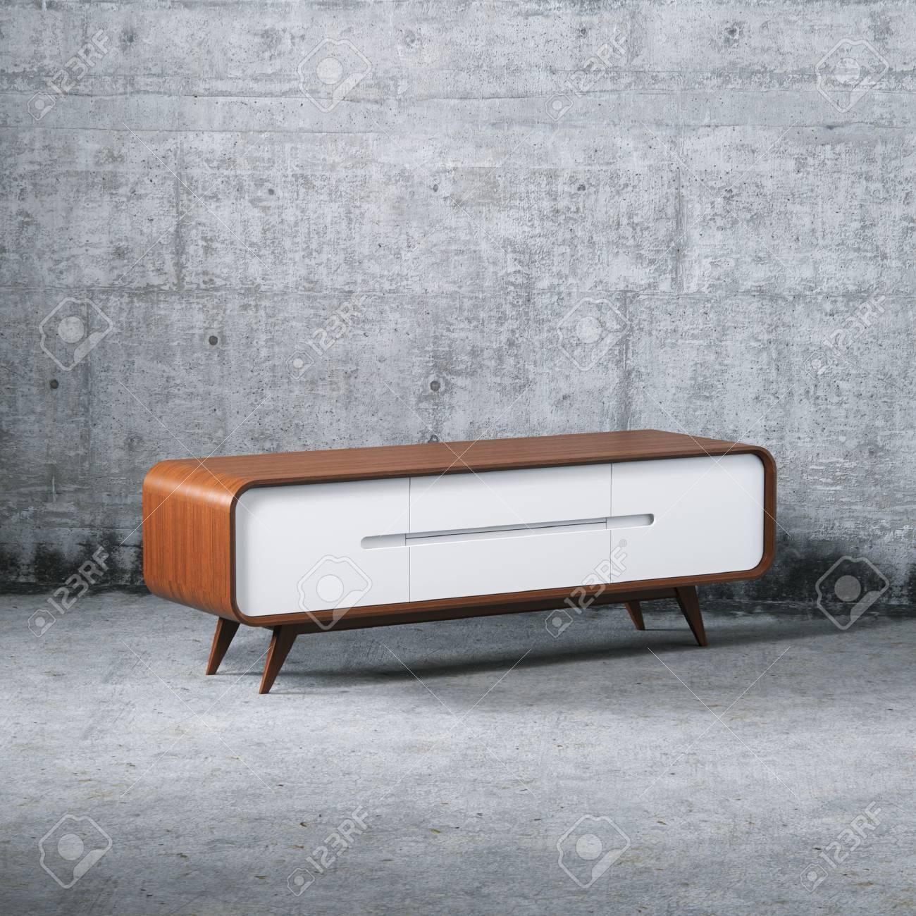 Wooden Diy Furniture Vintage Tv Stand 3d Render Stock Photo