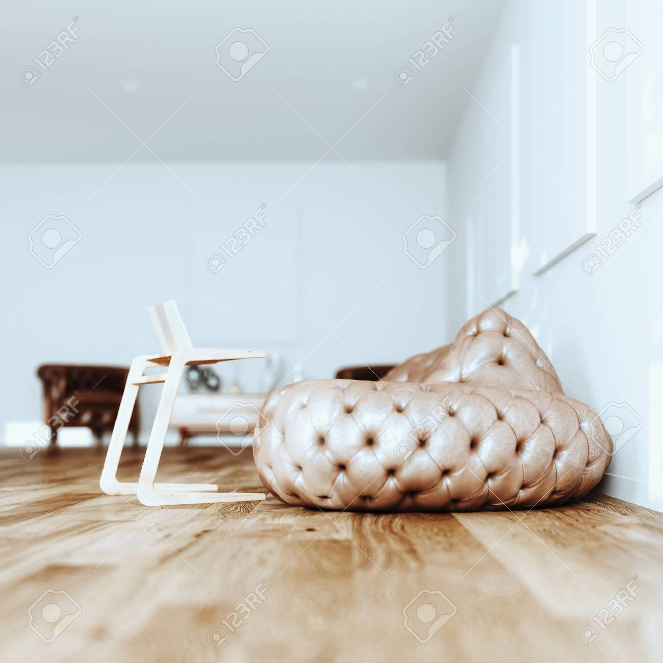 White Scandinavian interior with vintage leather sofa and wooden..