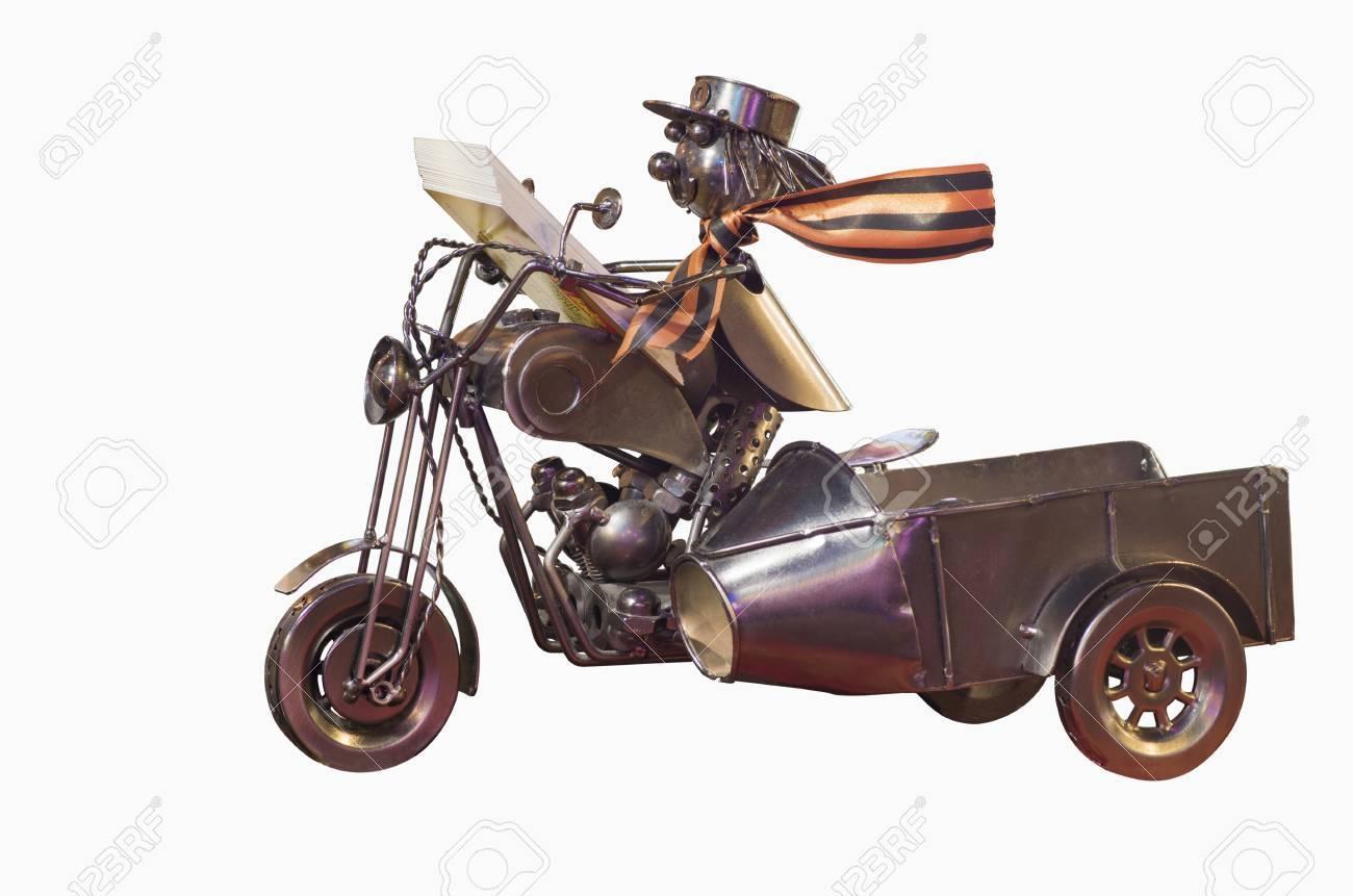Modell Motorrad Mit Fahrer Aus Den Verschiedenen Drüsen Und ...