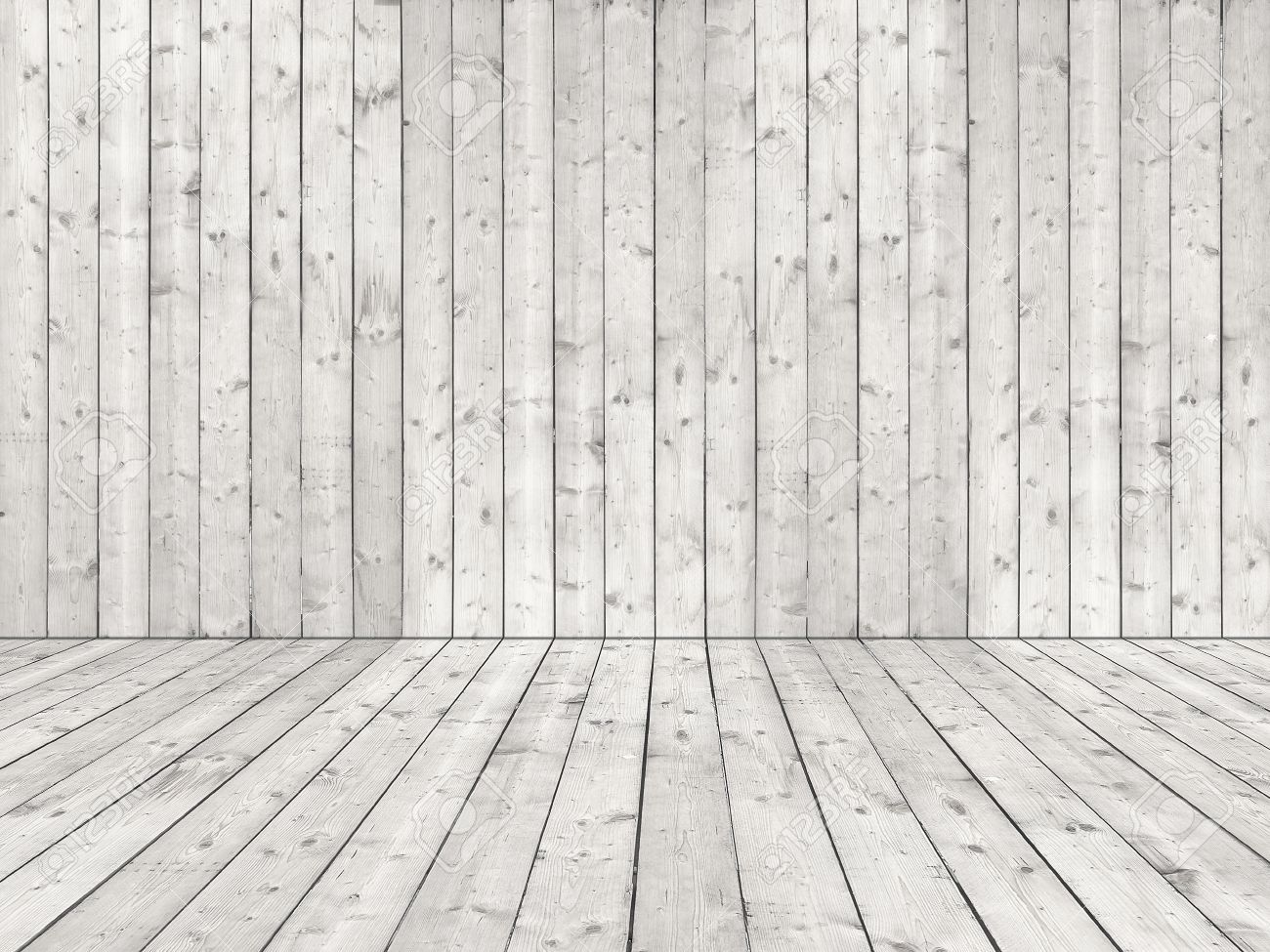 room with white wooden planked wall and flooring of rough sewed