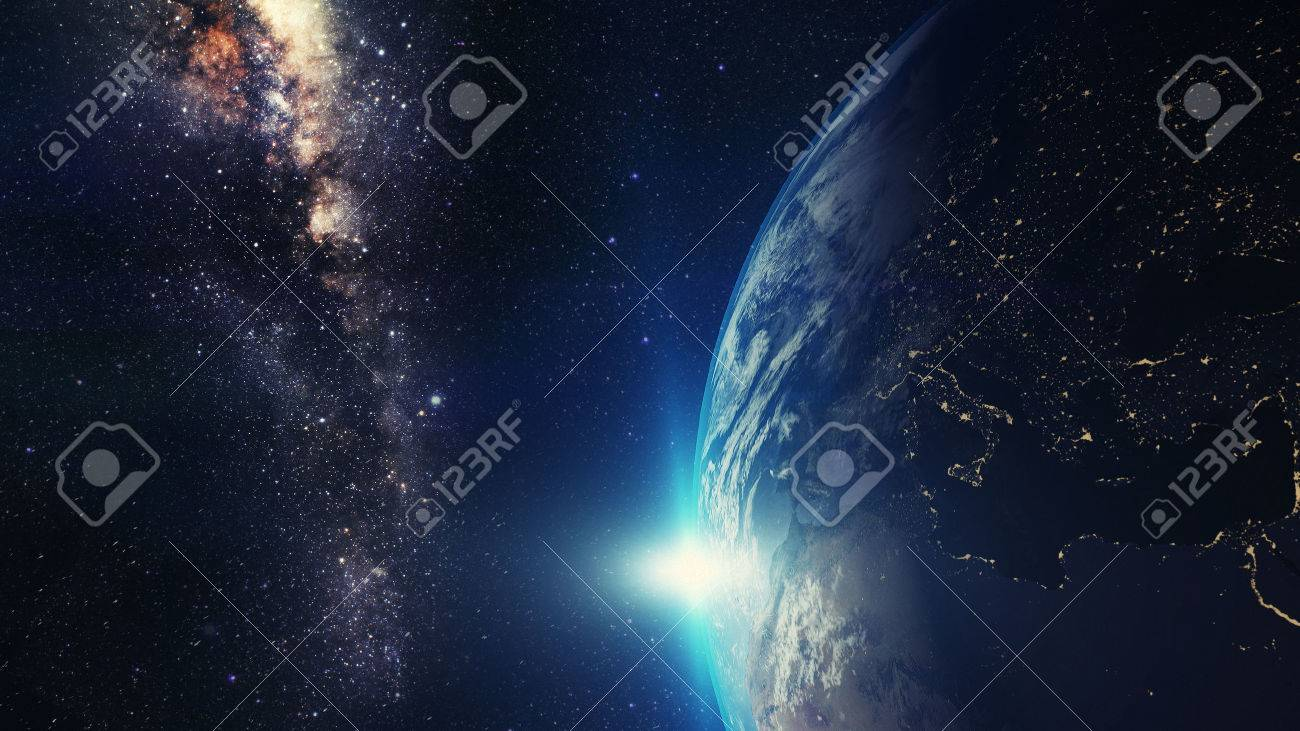 Blue Sunrise, View Of Earth From Space With Milky Way Galaxy Stock ...
