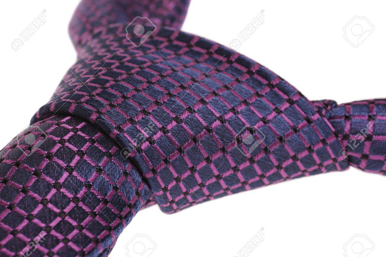 closeup of purple tie's windsor knot, isolated on white background Stock Photo - 14155613