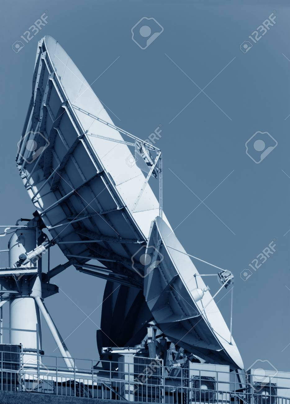 two satellite dishes. impressice color composition Stock Photo - 14387167