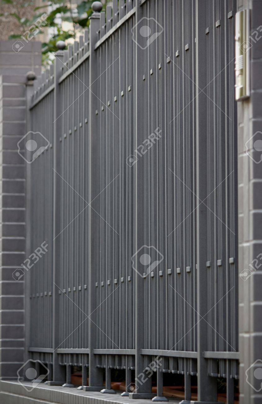 metal fence part of a metal grid fence stock photo picture and