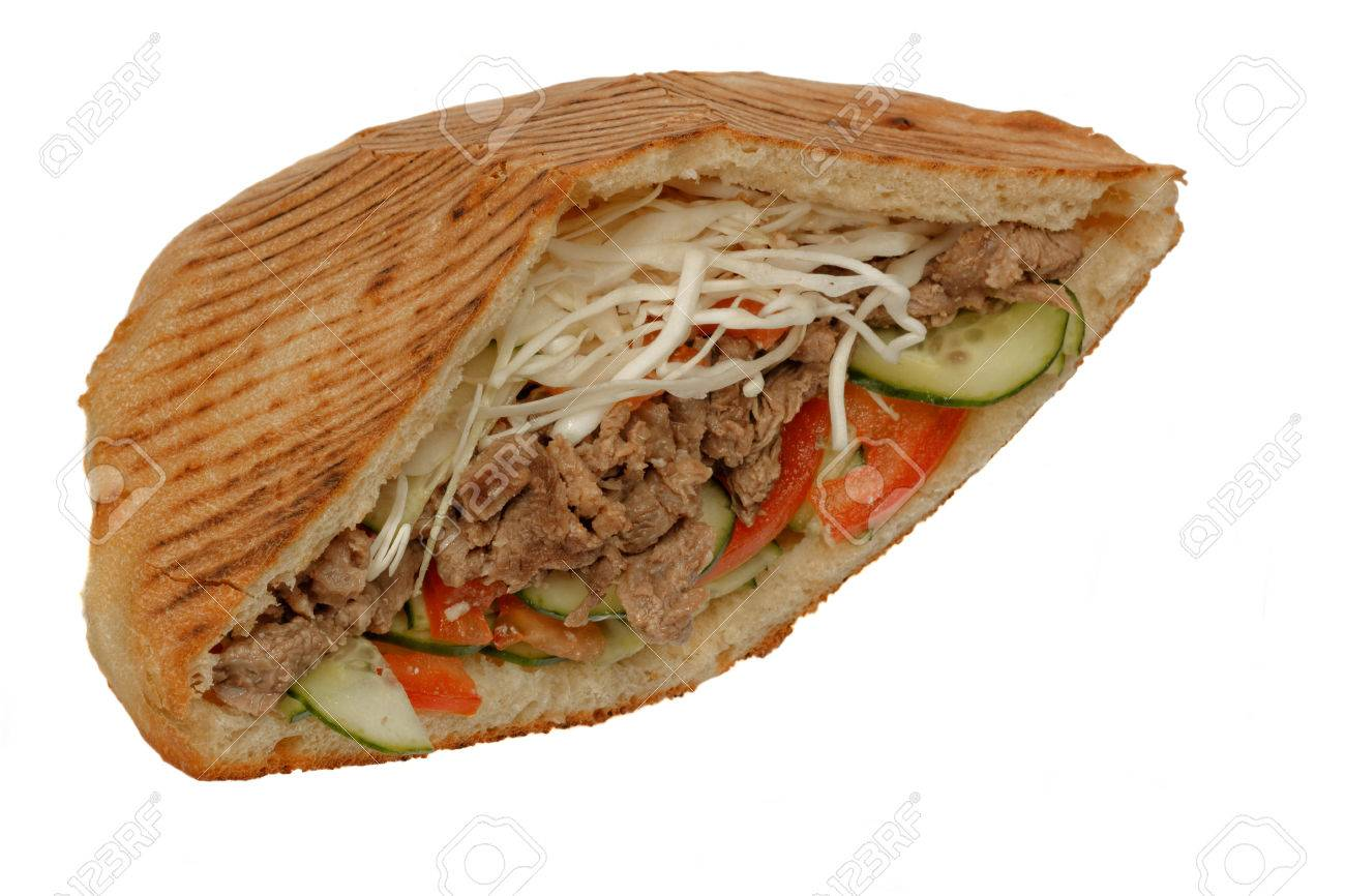 doner kebab sandwich with beef meat isolated on white background