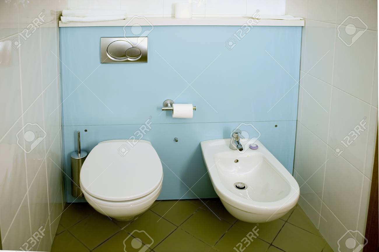 Equipment Of The Toilet Room: A Toilet Bowl And A Sink For Feet ...
