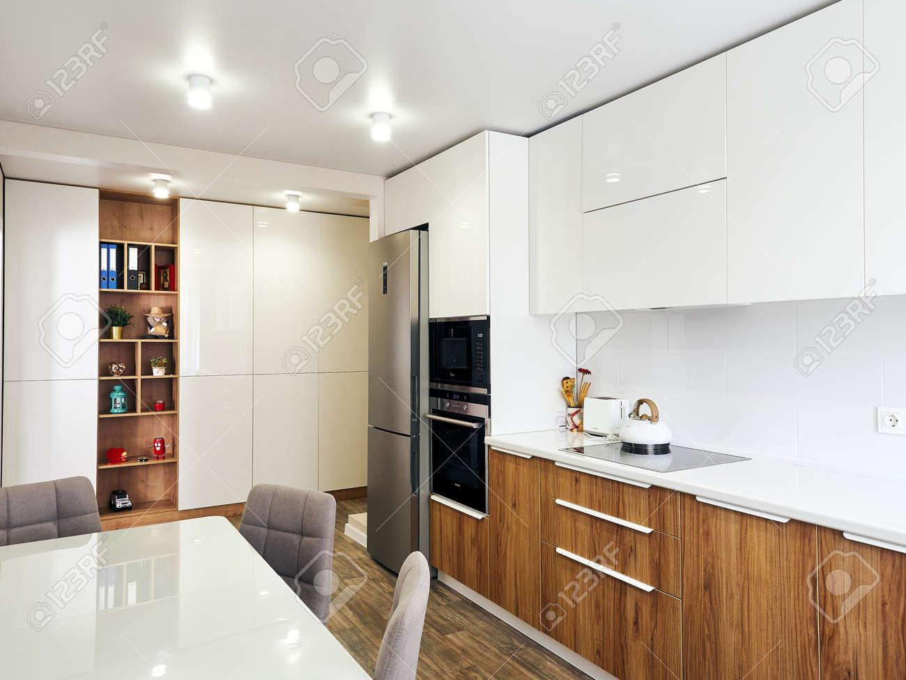 detail of modern whit kitchen interior - 151695559