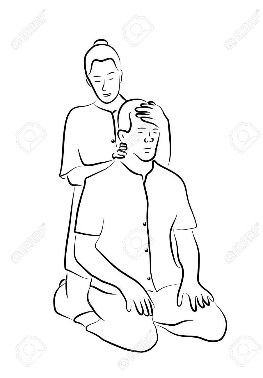 Shiatsu massage illustration Stock Vector - 16761110