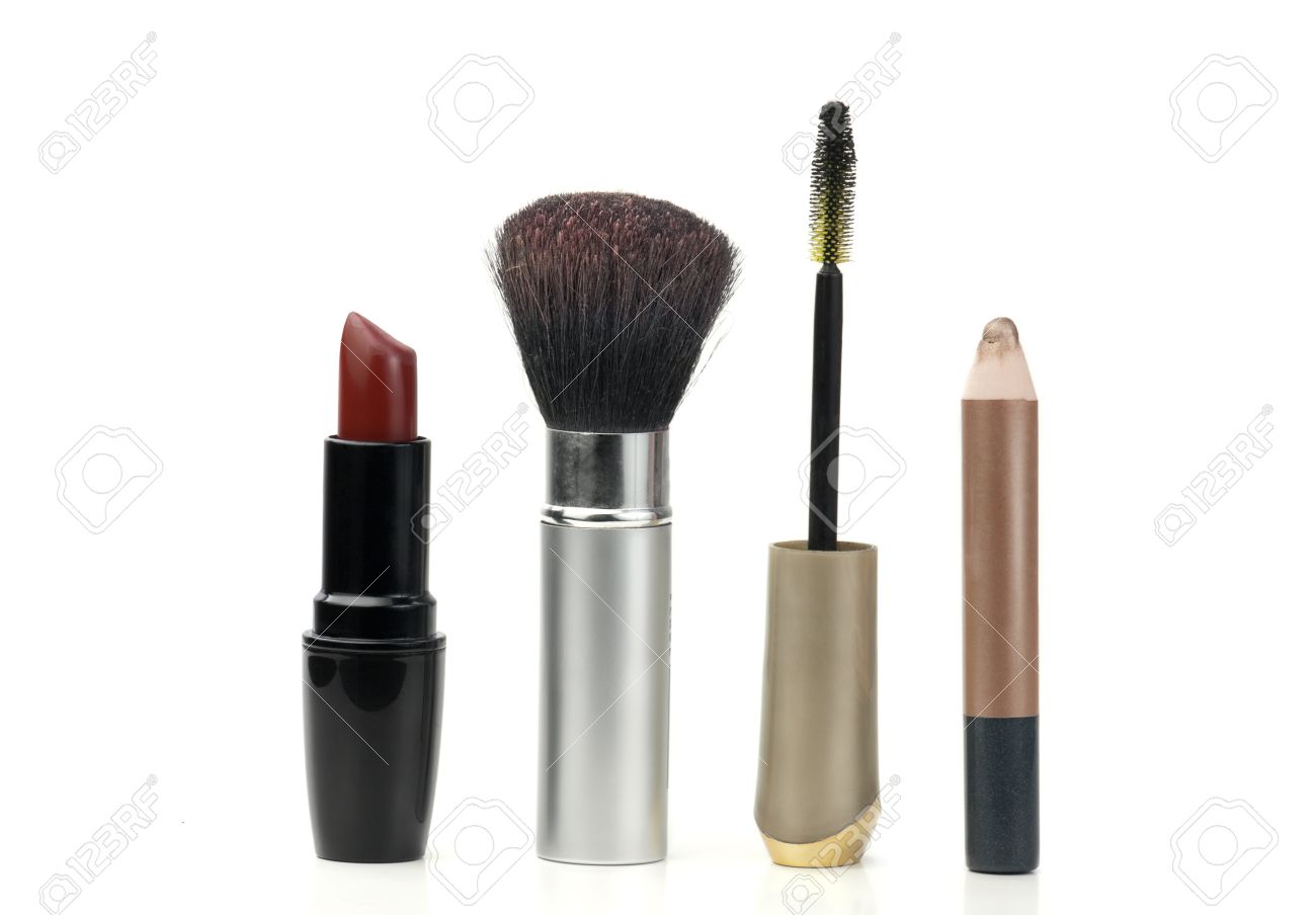 makeup tools used in cosmetics, over white background Stock Photo - 10871417